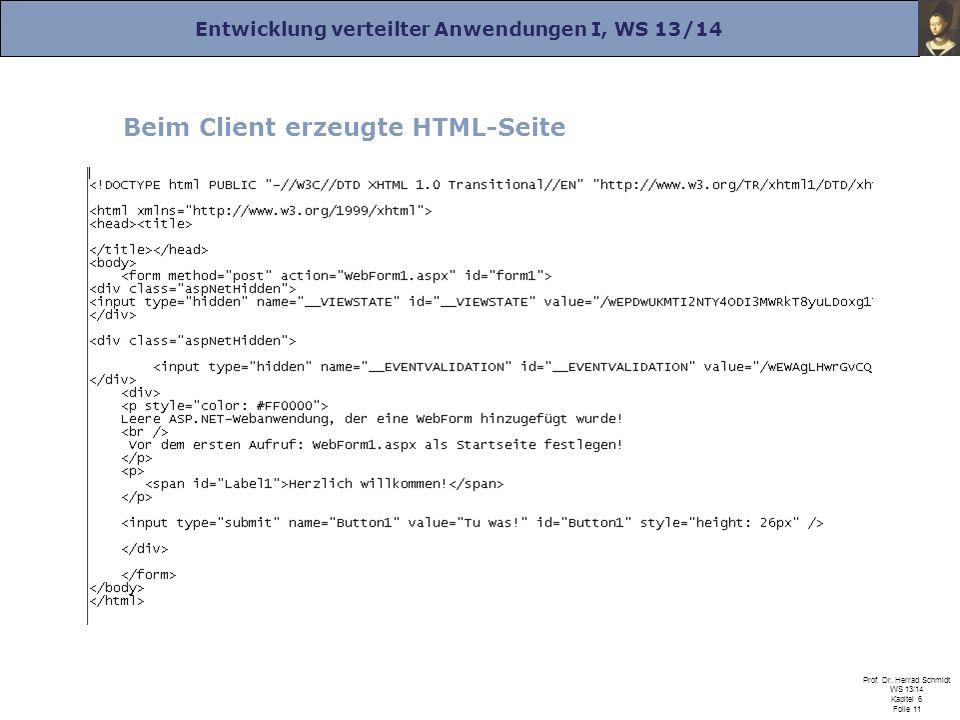 Entwicklung verteilter Anwendungen I, WS 13/14 Prof. Dr. Herrad Schmidt WS 13/14 Kapitel 6 Folie 11 Beim Client erzeugte HTML-Seite