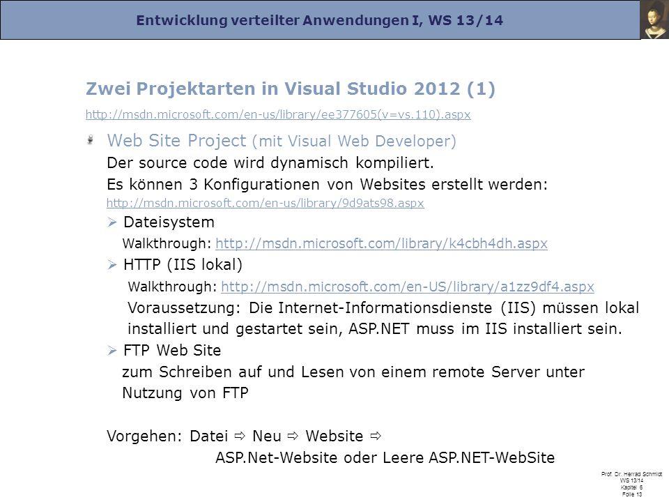 Entwicklung verteilter Anwendungen I, WS 13/14 Prof. Dr. Herrad Schmidt WS 13/14 Kapitel 6 Folie 13 Zwei Projektarten in Visual Studio 2012 (1) http:/