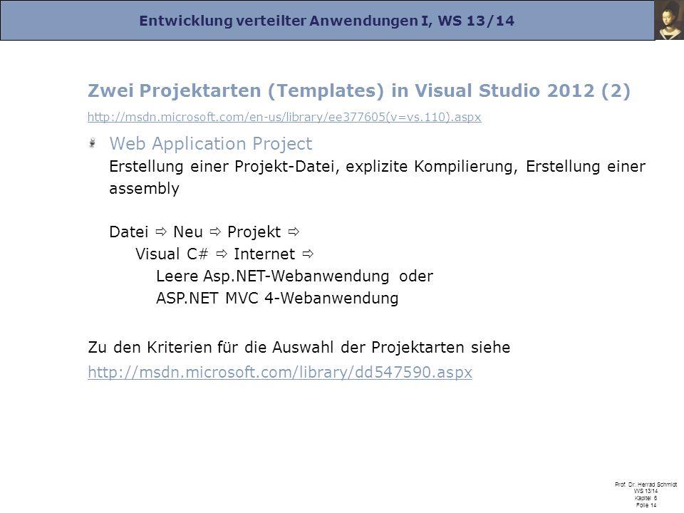Entwicklung verteilter Anwendungen I, WS 13/14 Prof. Dr. Herrad Schmidt WS 13/14 Kapitel 6 Folie 14 Zwei Projektarten (Templates) in Visual Studio 201