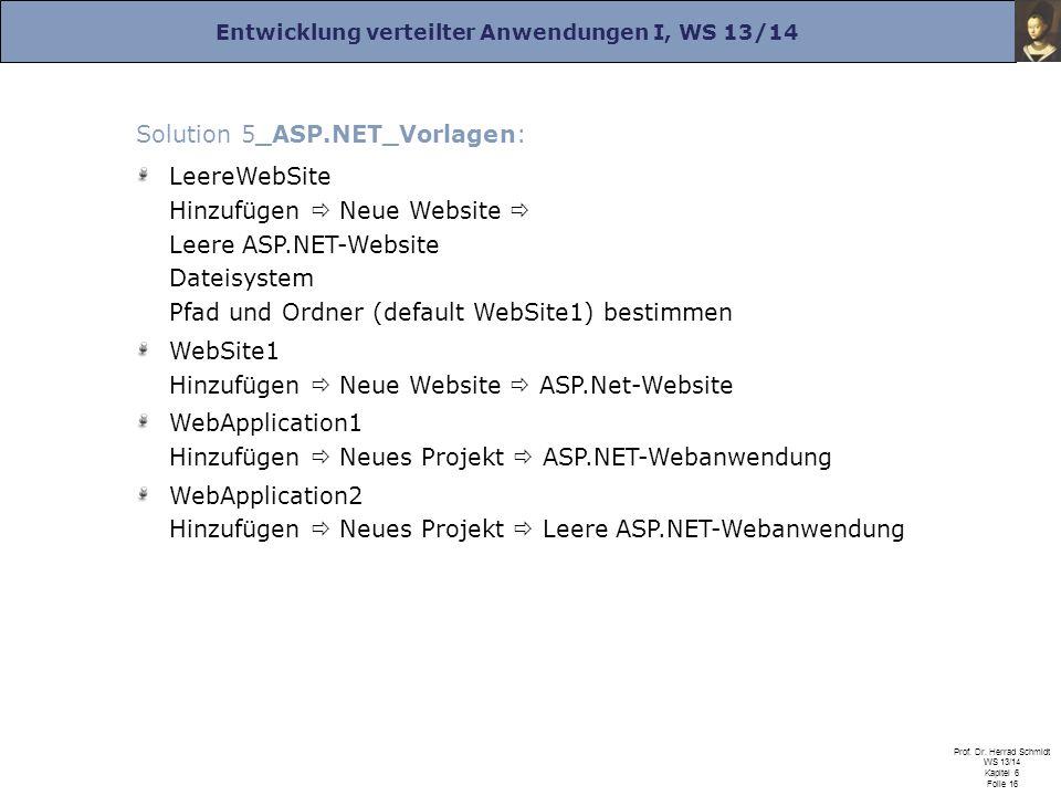 Entwicklung verteilter Anwendungen I, WS 13/14 Prof. Dr. Herrad Schmidt WS 13/14 Kapitel 6 Folie 16 Solution 5_ASP.NET_Vorlagen: LeereWebSite Hinzufüg