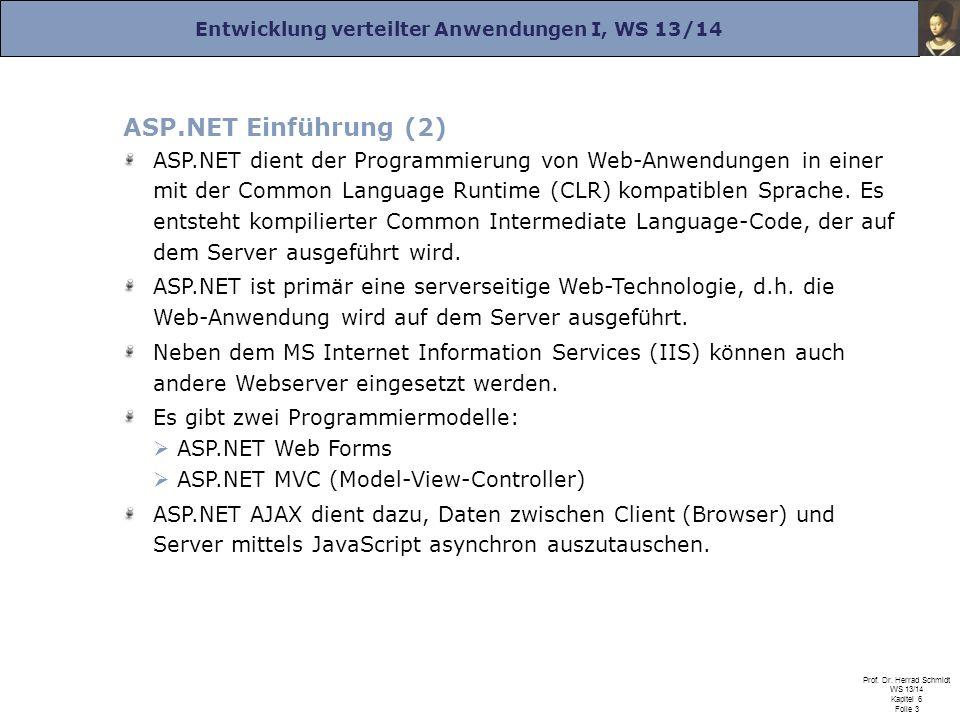 Entwicklung verteilter Anwendungen I, WS 13/14 Prof. Dr. Herrad Schmidt WS 13/14 Kapitel 6 Folie 3 ASP.NET Einführung (2) ASP.NET dient der Programmie