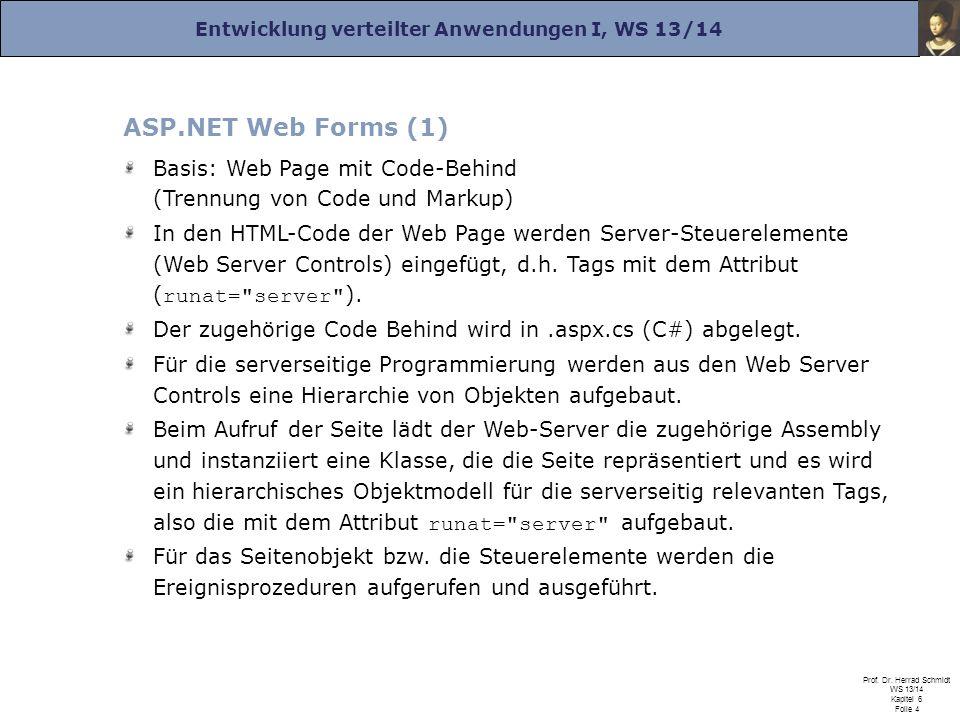 Entwicklung verteilter Anwendungen I, WS 13/14 Prof. Dr. Herrad Schmidt WS 13/14 Kapitel 6 Folie 4 ASP.NET Web Forms (1) Basis: Web Page mit Code-Behi