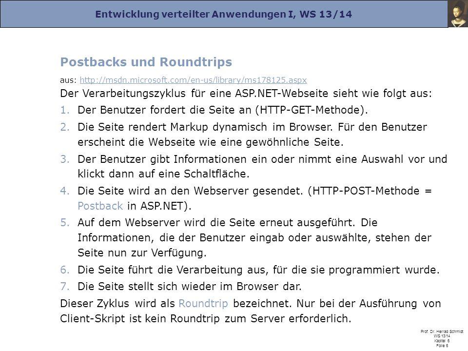 Entwicklung verteilter Anwendungen I, WS 13/14 Prof. Dr. Herrad Schmidt WS 13/14 Kapitel 6 Folie 6 Postbacks und Roundtrips aus: http://msdn.microsoft