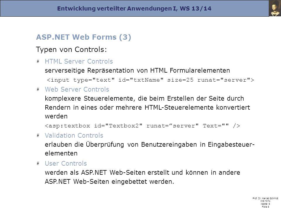 Entwicklung verteilter Anwendungen I, WS 13/14 Prof. Dr. Herrad Schmidt WS 13/14 Kapitel 6 Folie 8 ASP.NET Web Forms (3) Typen von Controls: HTML Serv