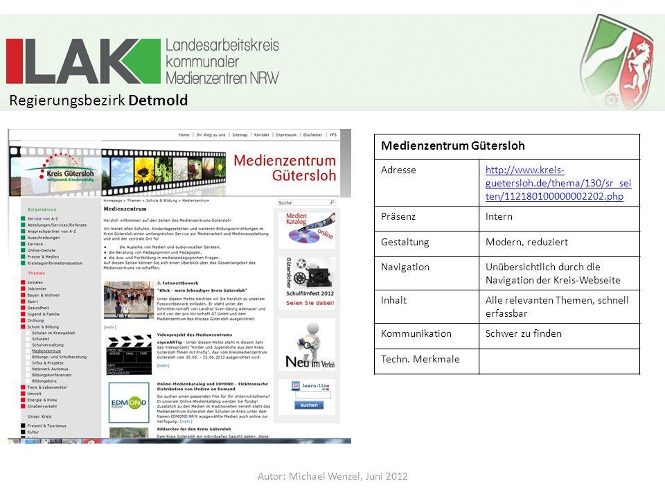 Internetpräsenzen der Medienzentren in NRW Stand: Juni 2012 Autor: Michael Wenzel, Juni 2012