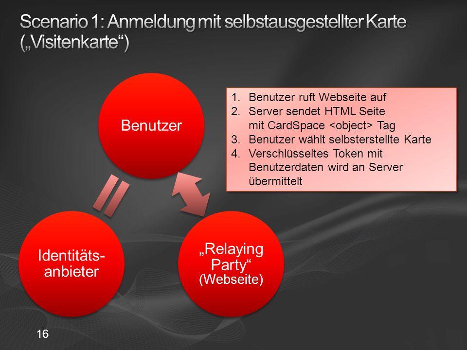 Benutzer Relaying Party (Webseite) Identitäts- anbieter 1.Benutzer ruft Webseite auf 2.Server sendet HTML Seite mit CardSpace Tag 3.Benutzer wählt selbsterstellte Karte 4.Verschlüsseltes Token mit Benutzerdaten wird an Server übermittelt 1.Benutzer ruft Webseite auf 2.Server sendet HTML Seite mit CardSpace Tag 3.Benutzer wählt selbsterstellte Karte 4.Verschlüsseltes Token mit Benutzerdaten wird an Server übermittelt 16