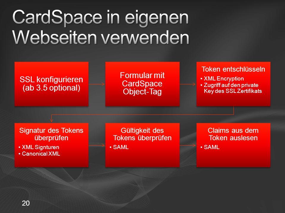 20 SSL konfigurieren (ab 3.5 optional) Formular mit CardSpace Object-Tag Token entschlüsseln XML Encryption Zugriff auf den private Key des SSL Zertif