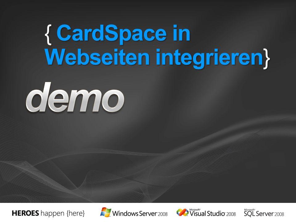 { CardSpace in Webseiten integrieren}
