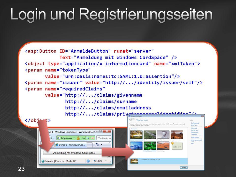 <param name= tokenType value= urn:oasis:names:tc:SAML:1.0:assertion /> <param name= requiredClaims value= http://.../claims/givenname http://.../claims/surname http://.../claims/emailaddress http://.../claims/privatepersonalidentifier /> 23