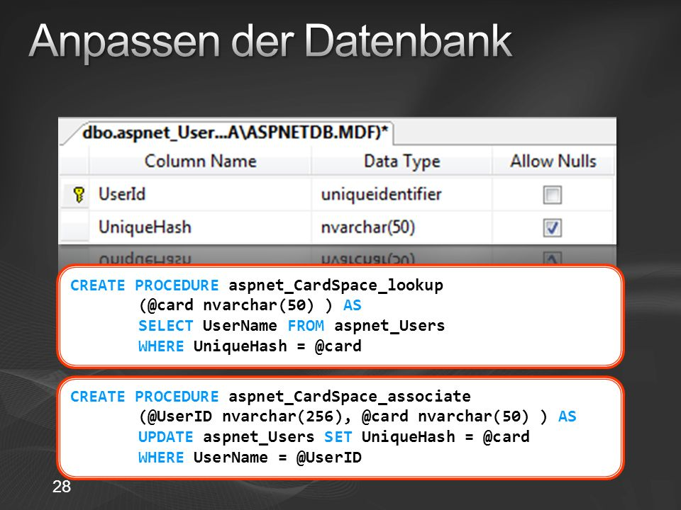 CREATE PROCEDURE aspnet_CardSpace_lookup (@card nvarchar(50) ) AS SELECT UserName FROM aspnet_Users WHERE UniqueHash = @card CREATE PROCEDURE aspnet_C