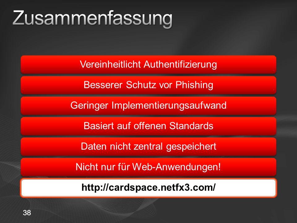 Vereinheitlicht AuthentifizierungBesserer Schutz vor PhishingGeringer ImplementierungsaufwandBasiert auf offenen StandardsDaten nicht zentral gespeichertNicht nur für Web-Anwendungen!http://cardspace.netfx3.com/ 38