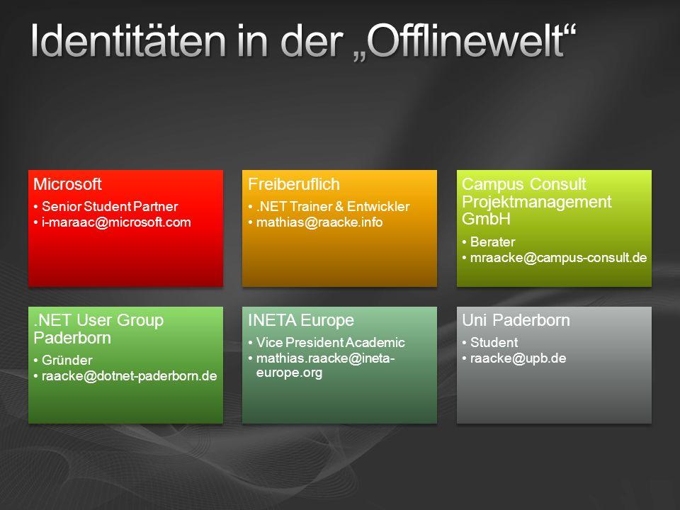 Microsoft Senior Student Partner i-maraac@microsoft.com Freiberuflich.NET Trainer & Entwickler mathias@raacke.info Campus Consult Projektmanagement Gm
