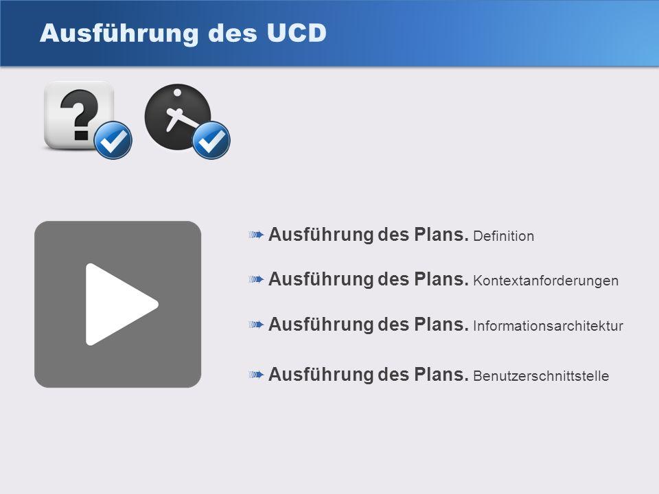 Ausführung des UCD Ausführung des Plans. Kontextanforderungen Ausführung des Plans. Informationsarchitektur Ausführung des Plans. Definition Ausführun