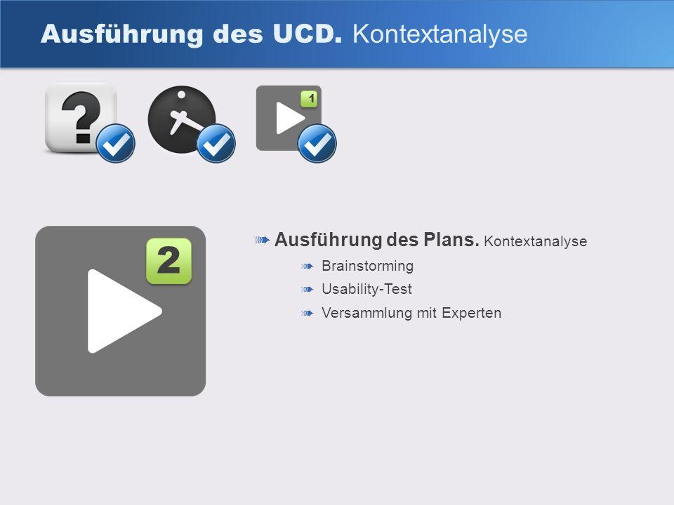 Ausführung des UCD. Kontextanalyse Ausführung des Plans. Kontextanalyse Brainstorming Usability-Test Versammlung mit Experten 2 2 1 1