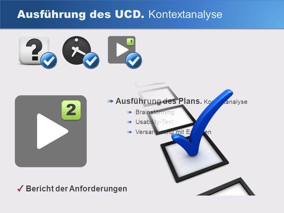 Ausführung des Plans. Kontextanalyse Brainstorming Usability-Test Versammlung mit Experten Ausführung des UCD. Kontextanalyse 2 2 1 1 Bericht der Anfo