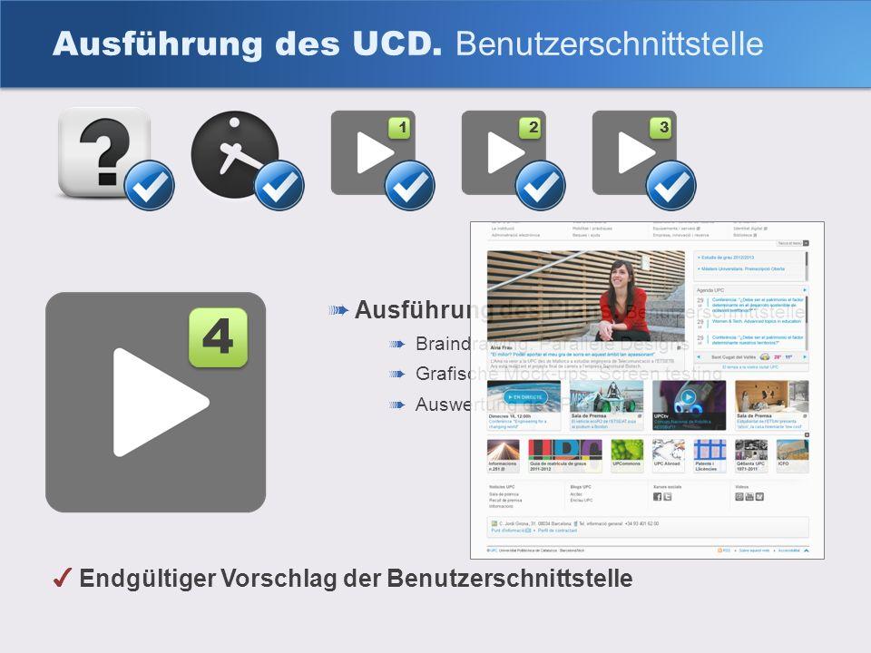 Ausführung des UCD. Benutzerschnittstelle 4 4 1 1 2 2 3 3 Endgültiger Vorschlag der Benutzerschnittstelle Ausführung des Plans. Benutzerschnittstelle