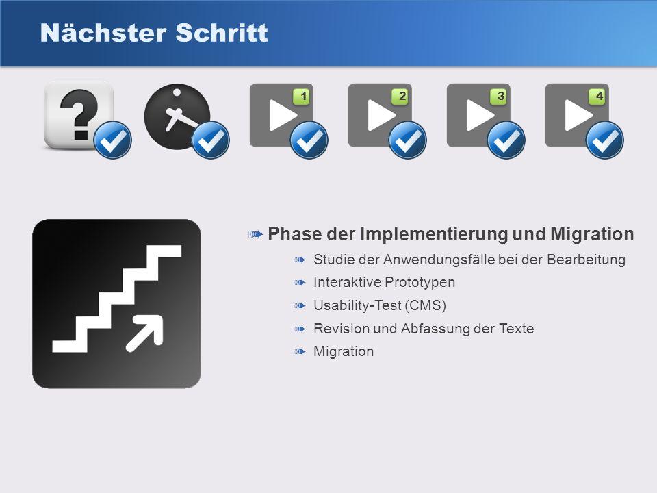 Nächster Schritt Phase der Implementierung und Migration Studie der Anwendungsfälle bei der Bearbeitung Interaktive Prototypen Usability-Test (CMS) Re