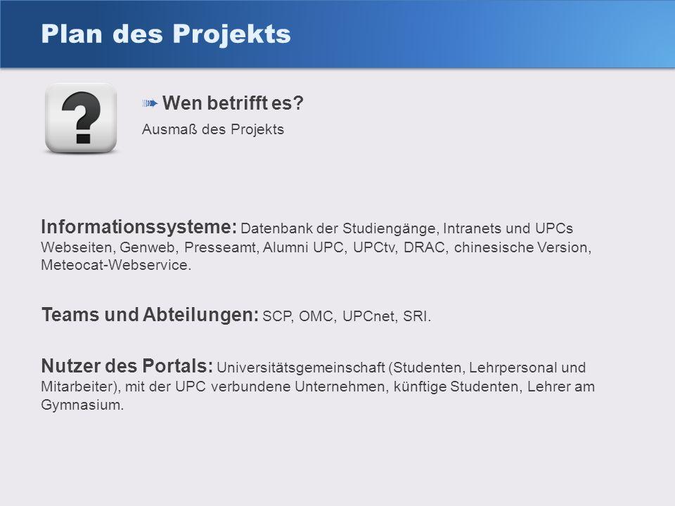 Plan des Projekts Wen betrifft es? Ausmaß des Projekts Informationssysteme: Datenbank der Studiengänge, Intranets und UPCs Webseiten, Genweb, Presseam