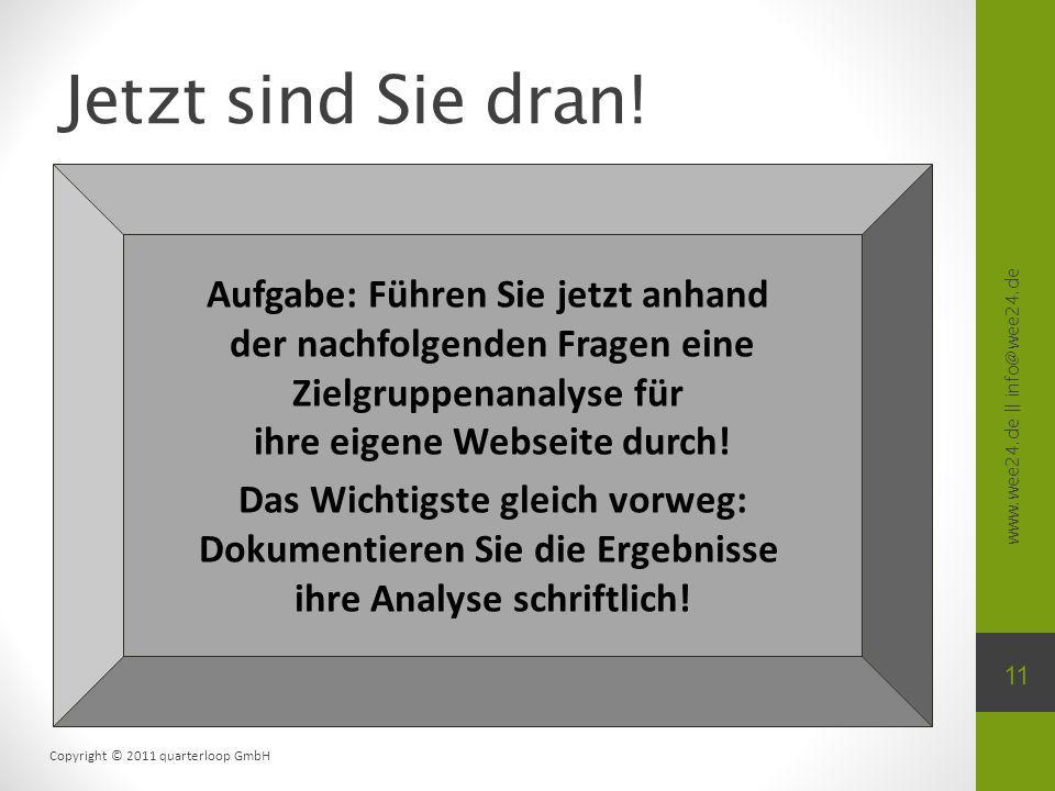 www.wee24.de || info@wee24.de Copyright © 2011 quarterloop GmbH Jetzt sind Sie dran! 11 Aufgabe: Führen Sie jetzt anhand der nachfolgenden Fragen eine