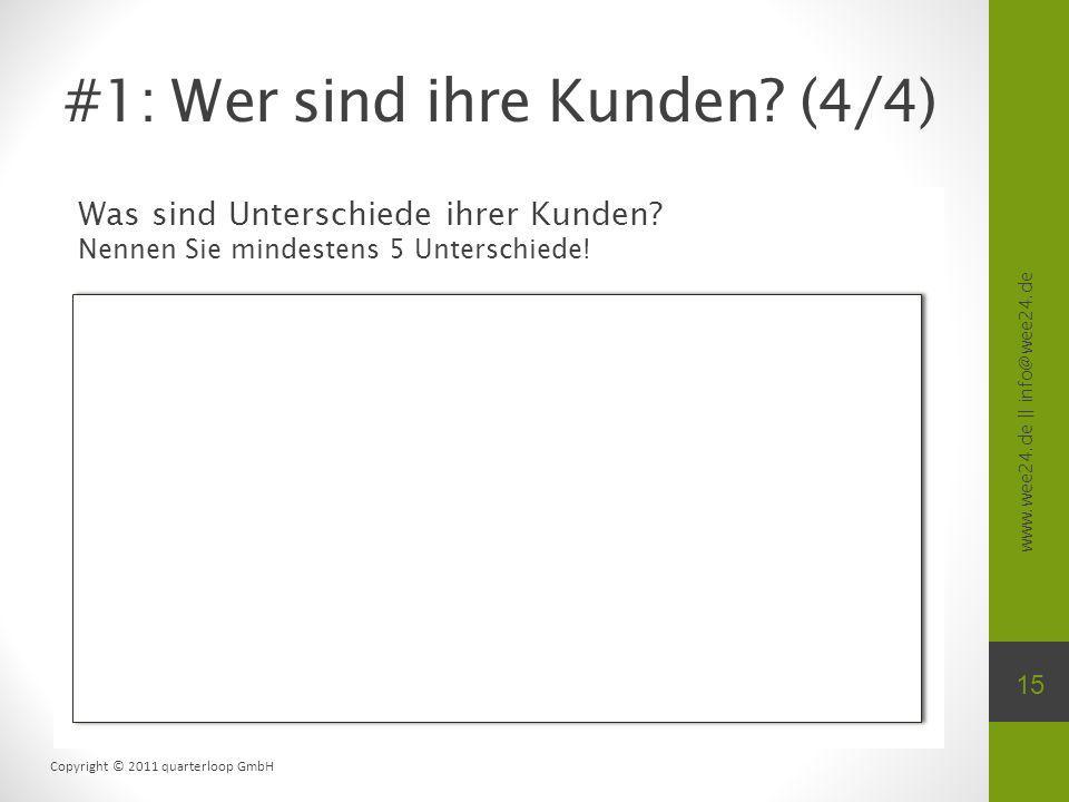 www.wee24.de || info@wee24.de Copyright © 2011 quarterloop GmbH Was sind Unterschiede ihrer Kunden? Nennen Sie mindestens 5 Unterschiede! #1: Wer sind