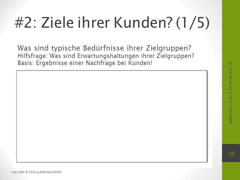 www.wee24.de || info@wee24.de Copyright © 2011 quarterloop GmbH #2: Ziele ihrer Kunden? (1/5) Was sind typische Bedürfnisse ihrer Zielgruppen? Hilfsfr