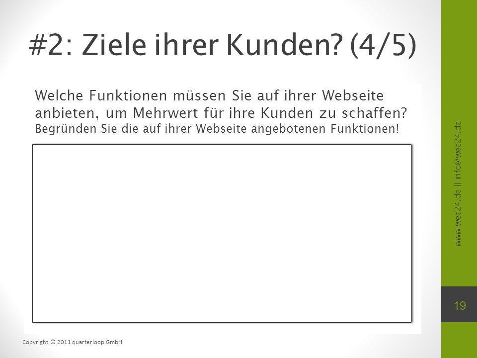 www.wee24.de || info@wee24.de Copyright © 2011 quarterloop GmbH Welche Funktionen müssen Sie auf ihrer Webseite anbieten, um Mehrwert für ihre Kunden zu schaffen.