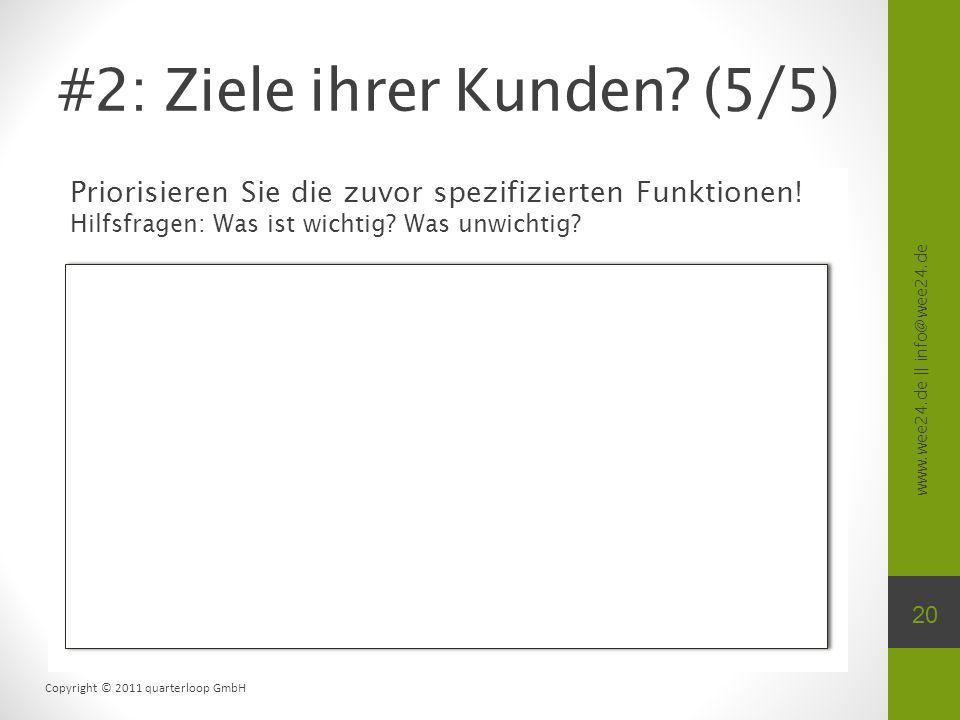 www.wee24.de || info@wee24.de Copyright © 2011 quarterloop GmbH Priorisieren Sie die zuvor spezifizierten Funktionen! Hilfsfragen: Was ist wichtig? Wa