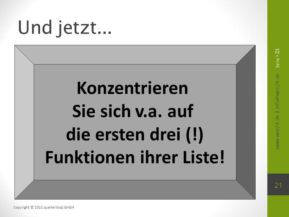 www.wee24.de || info@wee24.de Copyright © 2011 quarterloop GmbH Und jetzt... Seite 21 Konzentrieren Sie sich v.a. auf die ersten drei (!) Funktionen i