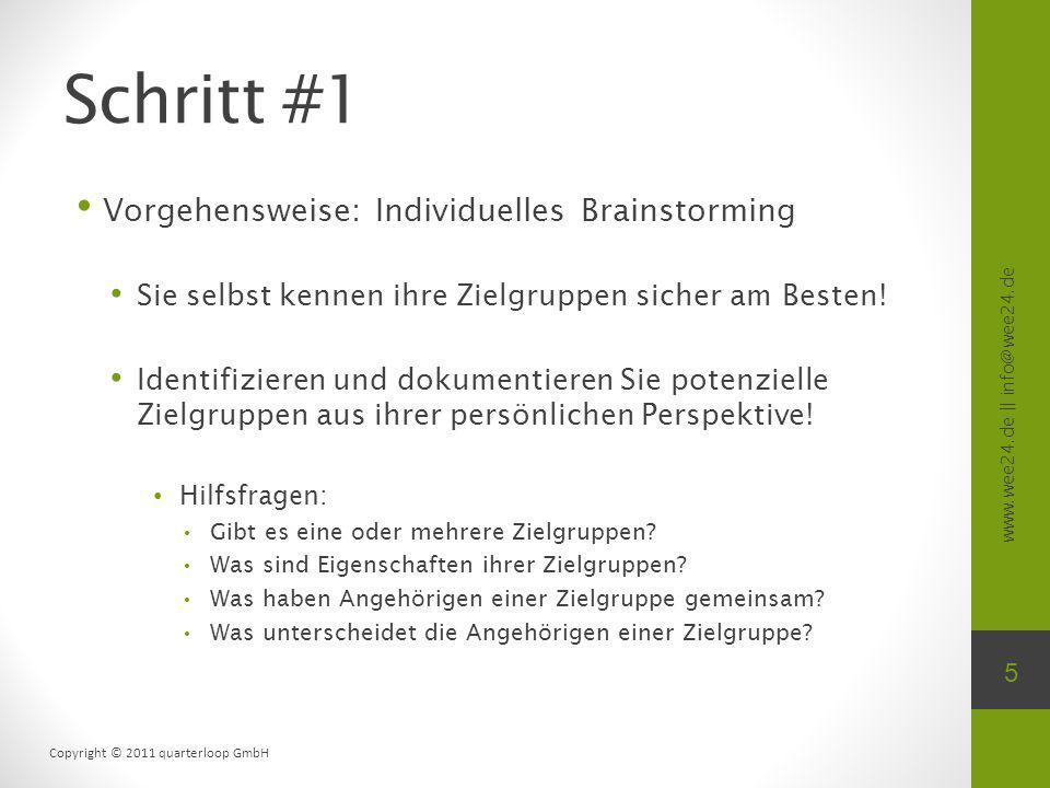 www.wee24.de || info@wee24.de Copyright © 2011 quarterloop GmbH Schritt #1 Vorgehensweise: Individuelles Brainstorming Sie selbst kennen ihre Zielgruppen sicher am Besten.