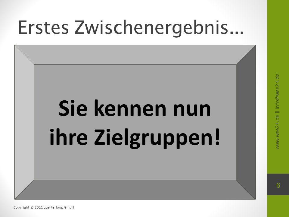 www.wee24.de || info@wee24.de Copyright © 2011 quarterloop GmbH Erstes Zwischenergebnis... 6 Sie kennen nun ihre Zielgruppen!