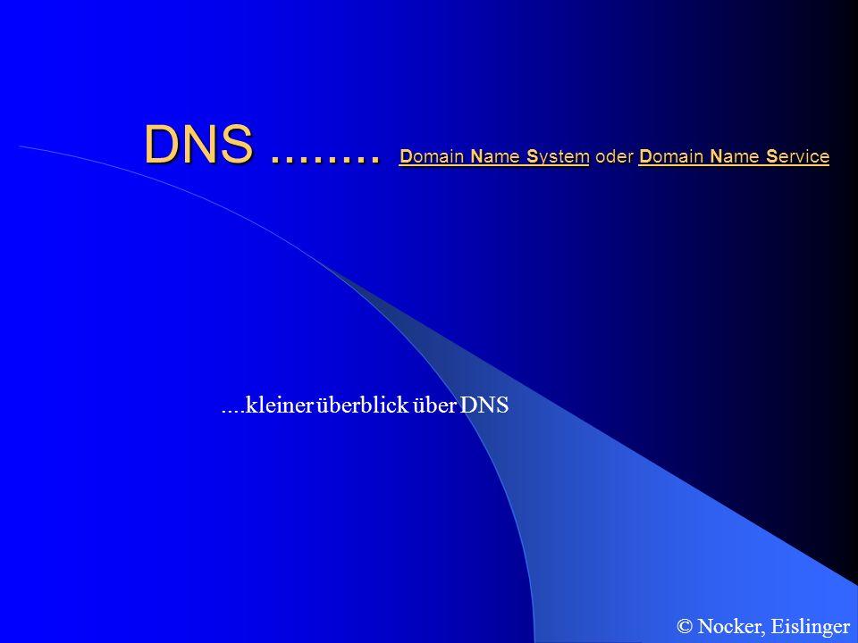 ....kleiner überblick über DNS DNS........ Domain Name System oder Domain Name Service © Nocker, Eislinger