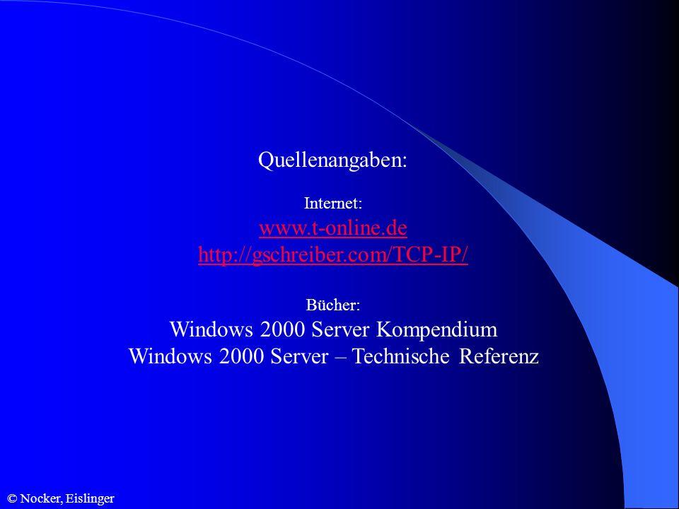© Nocker, Eislinger Quellenangaben: Internet: www.t-online.de http://gschreiber.com/TCP-IP/ Bücher: Windows 2000 Server Kompendium Windows 2000 Server