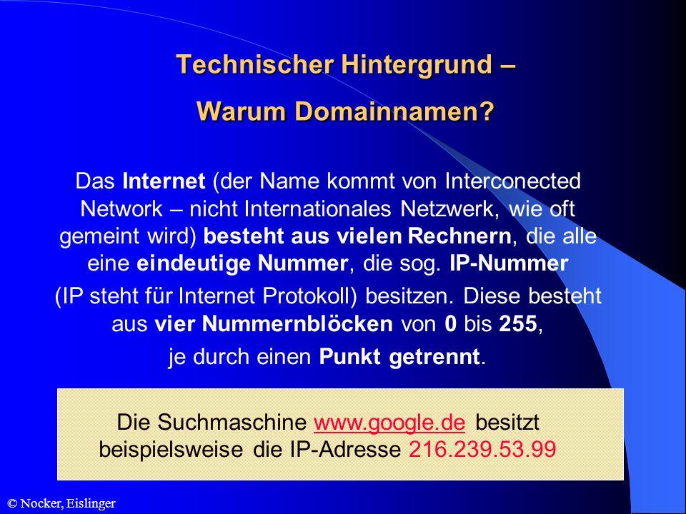 Das Internet (der Name kommt von Interconected Network – nicht Internationales Netzwerk, wie oft gemeint wird) besteht aus vielen Rechnern, die alle e
