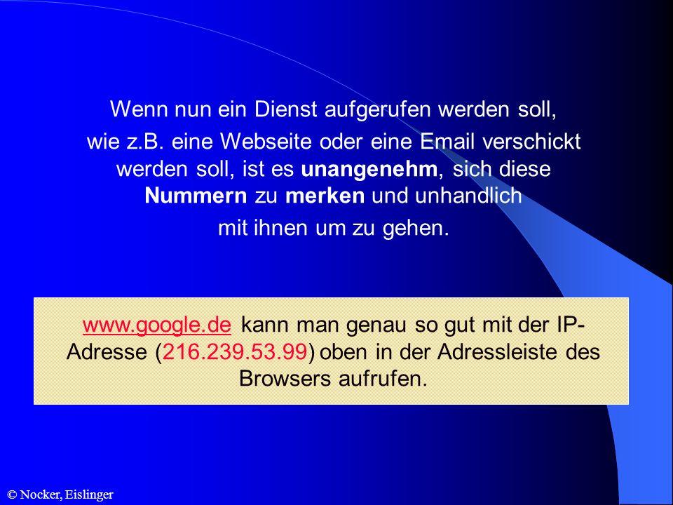 © Nocker, Eislinger Wenn nun ein Dienst aufgerufen werden soll, wie z.B. eine Webseite oder eine Email verschickt werden soll, ist es unangenehm, sich