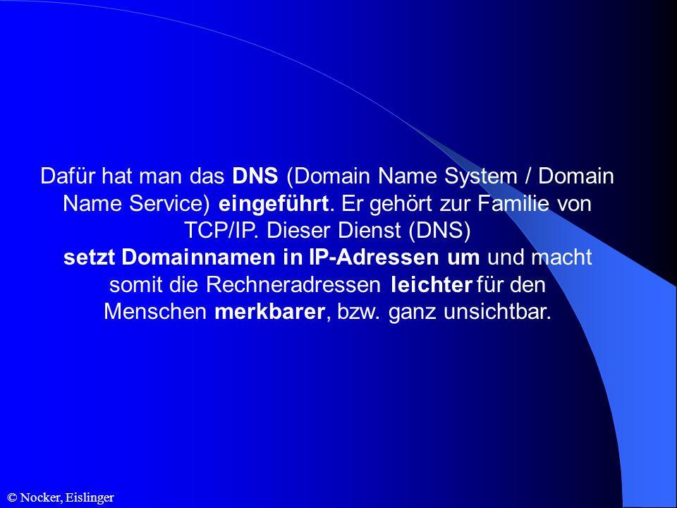 © Nocker, Eislinger Dafür hat man das DNS (Domain Name System / Domain Name Service) eingeführt. Er gehört zur Familie von TCP/IP. Dieser Dienst (DNS)