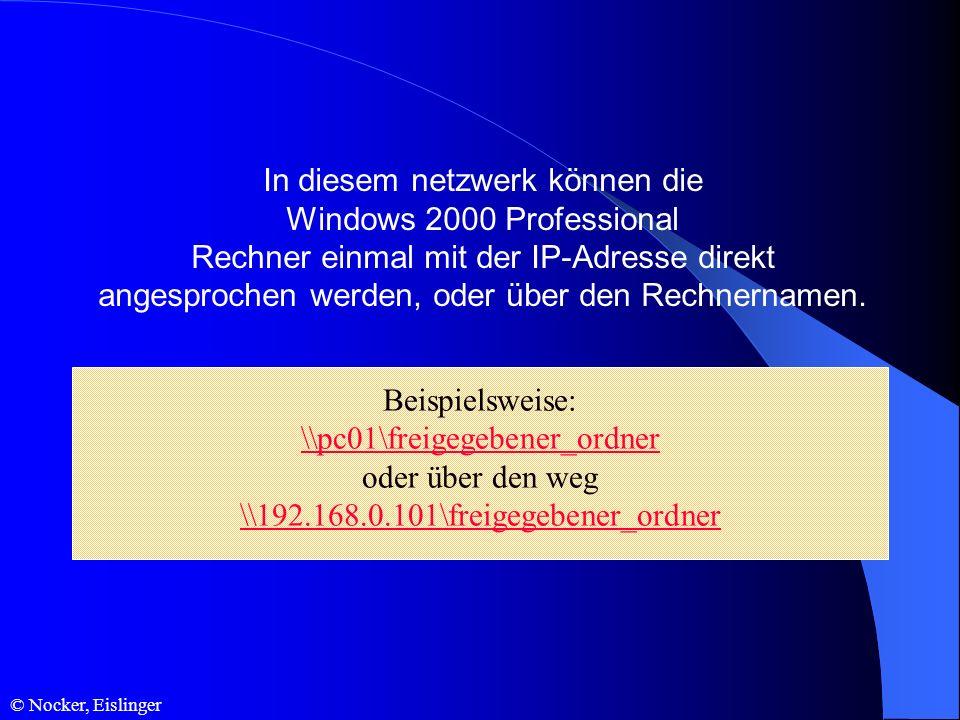 © Nocker, Eislinger In diesem netzwerk können die Windows 2000 Professional Rechner einmal mit der IP-Adresse direkt angesprochen werden, oder über de