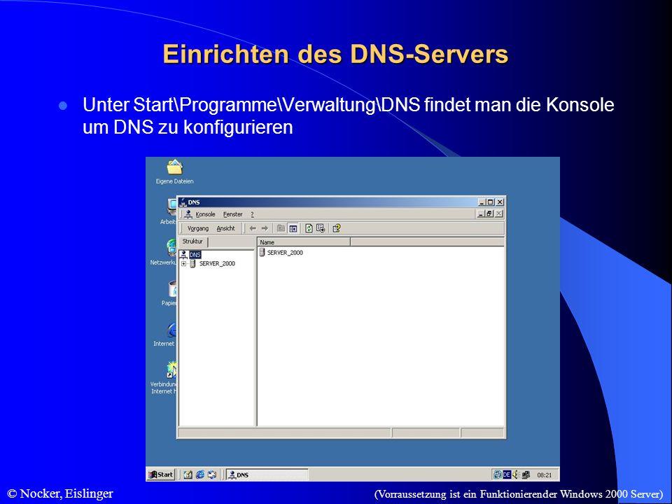 © Nocker, Eislinger Einrichten des DNS-Servers Unter Start\Programme\Verwaltung\DNS findet man die Konsole um DNS zu konfigurieren (Vorraussetzung ist