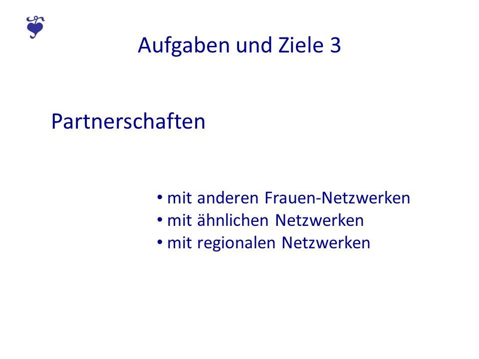 Aufgaben und Ziele 3 Partnerschaften mit anderen Frauen-Netzwerken mit ähnlichen Netzwerken mit regionalen Netzwerken