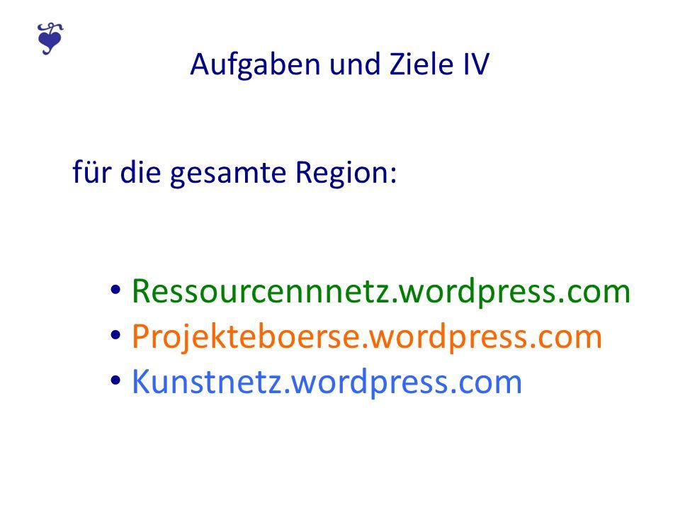 Aufgaben und Ziele IV für die gesamte Region: Ressourcennnetz.wordpress.com Projekteboerse.wordpress.com Kunstnetz.wordpress.com