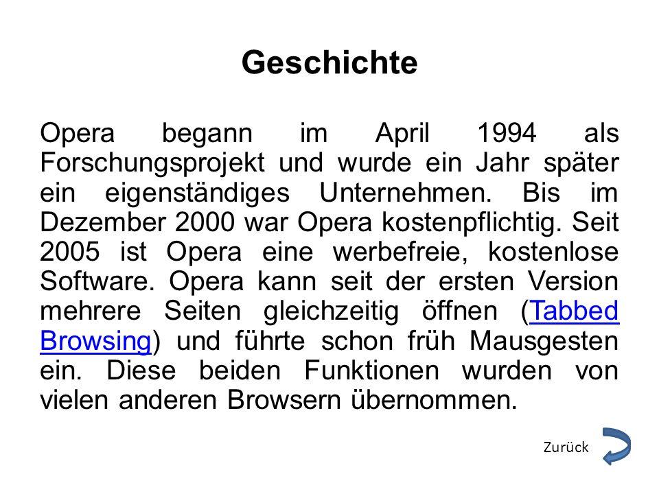 Geschichte Opera begann im April 1994 als Forschungsprojekt und wurde ein Jahr später ein eigenständiges Unternehmen. Bis im Dezember 2000 war Opera k