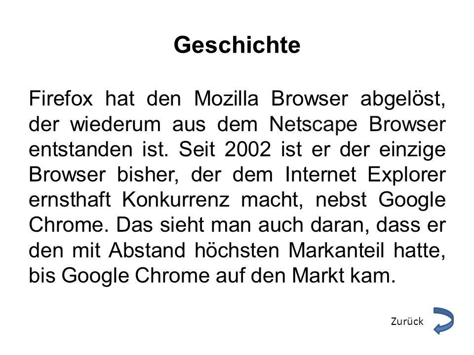 Geschichte Firefox hat den Mozilla Browser abgelöst, der wiederum aus dem Netscape Browser entstanden ist. Seit 2002 ist er der einzige Browser bisher