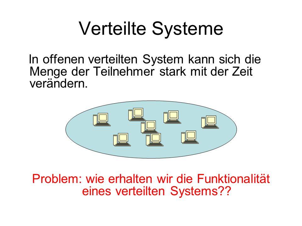 Verteilte Systeme In offenen verteilten System kann sich die Menge der Teilnehmer stark mit der Zeit verändern. Problem: wie erhalten wir die Funktion