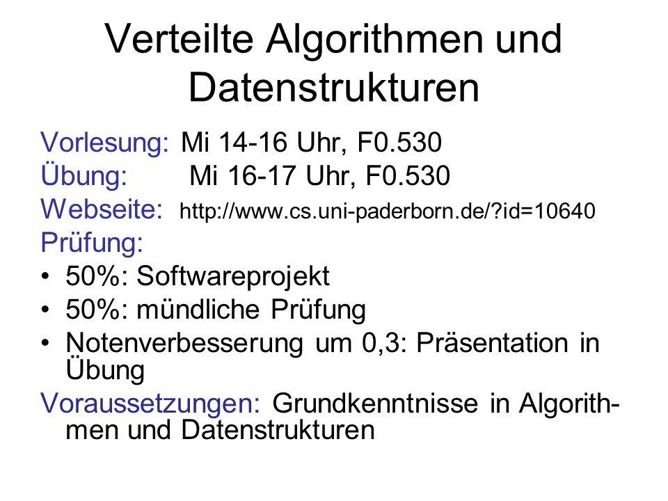 Verteilte Algorithmen und Datenstrukturen Vorlesung: Mi 14-16 Uhr, F0.530 Übung: Mi 16-17 Uhr, F0.530 Webseite: http://www.cs.uni-paderborn.de/?id=106