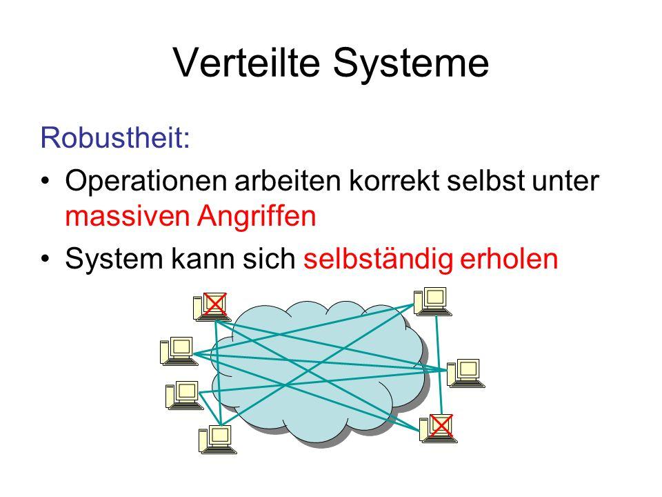 Verteilte Systeme Robustheit: Operationen arbeiten korrekt selbst unter massiven Angriffen System kann sich selbständig erholen