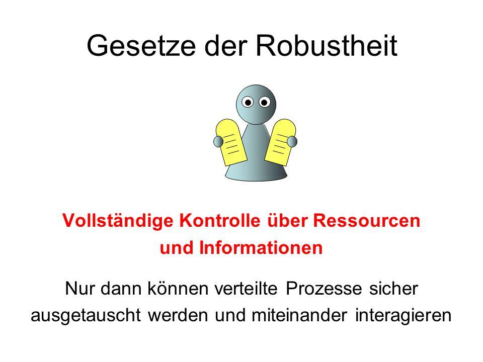 Gesetze der Robustheit Vollständige Kontrolle über Ressourcen und Informationen Nur dann können verteilte Prozesse sicher ausgetauscht werden und mite