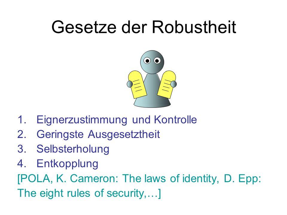 Gesetze der Robustheit 1.Eignerzustimmung und Kontrolle 2.Geringste Ausgesetztheit 3.Selbsterholung 4.Entkopplung [POLA, K. Cameron: The laws of ident