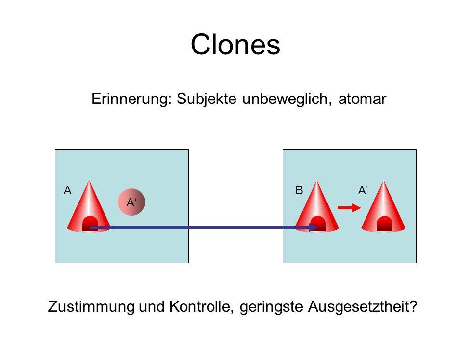 Clones Erinnerung: Subjekte unbeweglich, atomar A ABA Zustimmung und Kontrolle, geringste Ausgesetztheit?