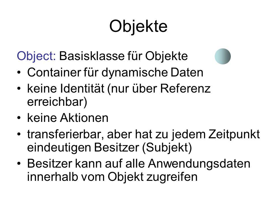 Objekte Object: Basisklasse für Objekte Container für dynamische Daten keine Identität (nur über Referenz erreichbar) keine Aktionen transferierbar, a