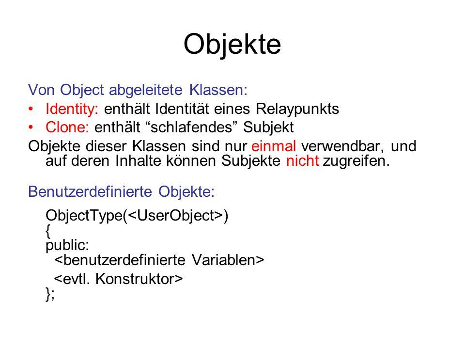 Objekte Von Object abgeleitete Klassen: Identity: enthält Identität eines Relaypunkts Clone: enthält schlafendes Subjekt Objekte dieser Klassen sind nur einmal verwendbar, und auf deren Inhalte können Subjekte nicht zugreifen.
