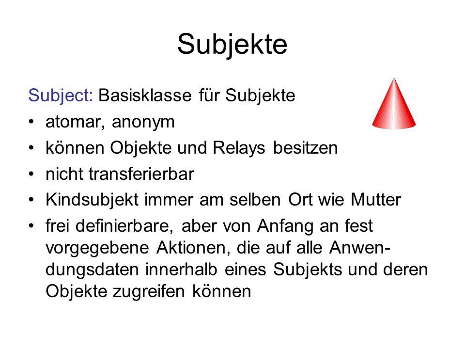 Subjekte Subject: Basisklasse für Subjekte atomar, anonym können Objekte und Relays besitzen nicht transferierbar Kindsubjekt immer am selben Ort wie